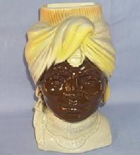 ROYAL COPLEY Pottery BLACK MAN'S  HEAD  Vase