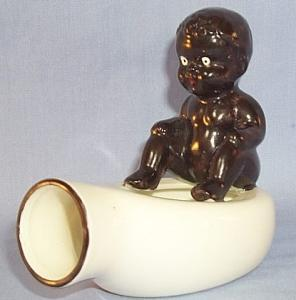 Ethnographic Occupied Japan BLACK BOY ON BEDPAN Porcelain Ashtray.