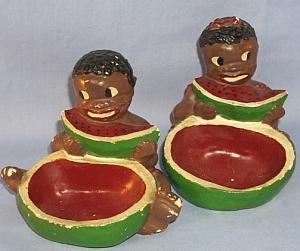 Two Ethnographic  Chalkware Ashtrays With Black Boy And Girl Eating Watermelon