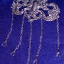 Chatelaine Pin STERLING Five Chains - Jewelry