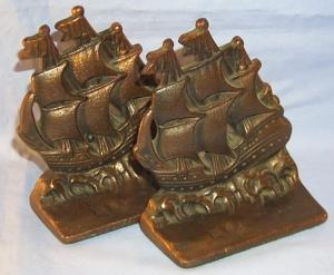Bronze Washed Cast Iron WARSHIP Bookends Metalware