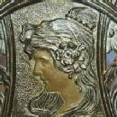 Art Nouveau Brass LADY  Sliding Bookrack Metalware