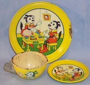 CHEIN Child's Tin Litho Cup, Saucer, and Plate Set - Toys