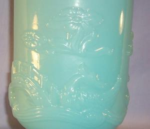 FENTON Oriental Design Turquoise Glass Vase