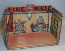 MARX Tin Litho HOME TOWN FIRE HOUSE Toys