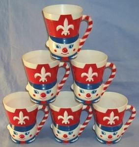 Six F & F Mold Co. CLOWN Cups - Toys