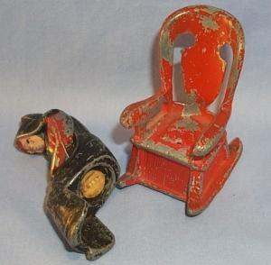 Cast Iron AMISH COUPLE ON ROCKING CHAIRS Salt and Pepper Sets - Metalware