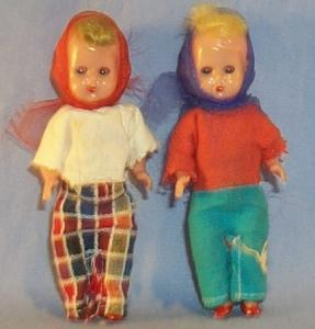 Two Small Plastic SLEEP EYES Jointed Dolls - Toys