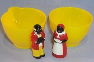 Aunt Jemima and Uncle Mose Yellow Creamer and Sugar Set - Ethnographic