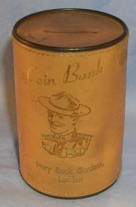 Leather Covered Canada Advertising Coin Bank