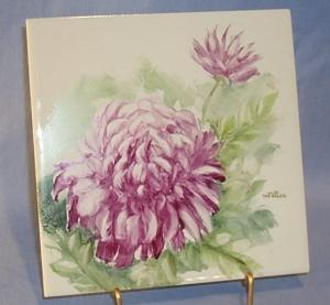 Signed Hand Painted Pink Peony Decorated Pottery Tile