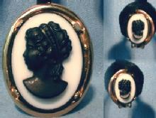 Jewelry  Black White  CAMEO Brooch & Clip Earrings - JEwelry