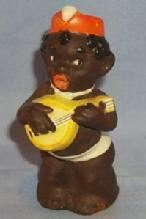 Ethnographic GOEBEL Black Mandolin Player Porcelain Shaker