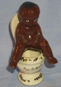 Ethnographic Porcelain BLACK BOY ON POTTY Advertising WINDSOR CANADA Figurine