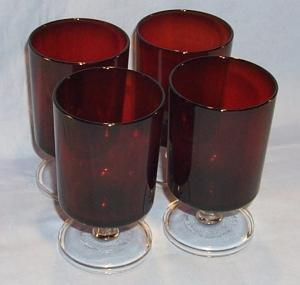 Four Ruby Red Glasses With Clear Stems