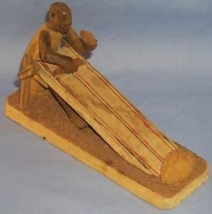 Africa Folk Art Hand Carved Weaver at Work  Wood Figurine - Ethnographic