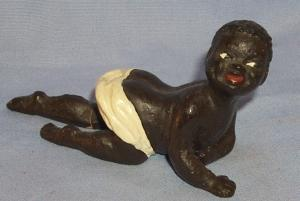 Ethnographic Porcelain Hand Painted CRAWLING Black Baby In Diapers  Figurine.