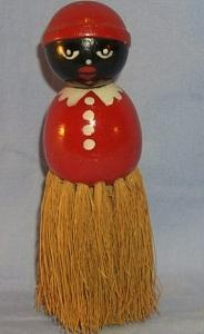 Ethnographic Red Mammy Wooden Whisk Broom.