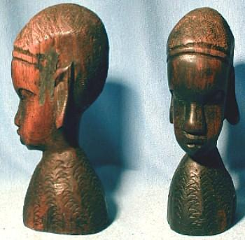 Ethnographic Carved Wood Bust - woodenware collectible