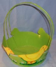 Metal Hand Painted Baby Duck Decorated Green EASTER BASKET - Toys