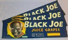 Three B lack Memorabilia BLACK JOE California Juice Grapes Paper Packing Crate Labels - Advertising