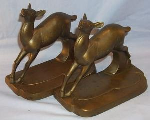 Pair of FRANKART Doe Bronze Finished Grey Metal Bookends - Metalware