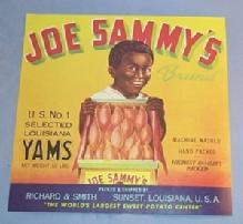 Black Memorabilia JOE SAMMY'S Brand Louisiana Yams Paper Packing Crate Label - Advertising