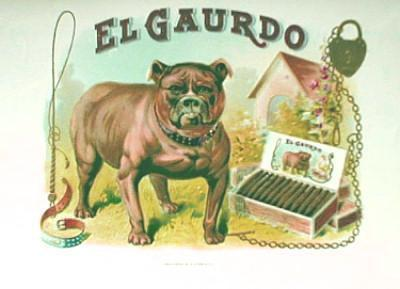 EL GAURDO Cigar Box Label - MINT Tobacciana Paper with Bull DOG