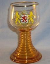 LUXENBOURG Coat of Arms Decorated Amber Stem Wine Glass