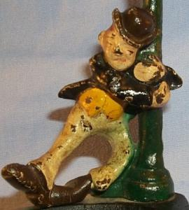 Cast Iron Drunken Man Hanging on Lightpost Ashtray / Bottle Opener - Metalware
