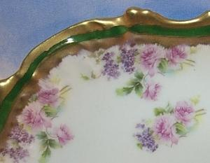 Six Porcelain LIMOGES Rose and Gold Decorated Dinner Plates