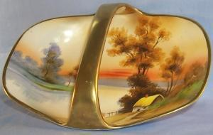 NIPPON Hand Painted Cottage by the Lake Porcelain Basket Bowl