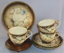 Pair of   DRAGONWARE Porcelain Demitasse Cup and Saucer Sets
