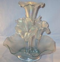 FENTON Five Piece Velva Blue Stretch Glass Epergne