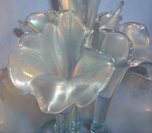 FENTON Five Piece Velva Blue Stretch Glass Epergne