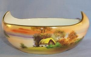 NIPPON Hand Painted Cottage by the Lake Porcelain Oblong Sauce Bowl