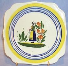 Small Unmarked QUIMPER Lady and Flower Decorated Pottery Plate