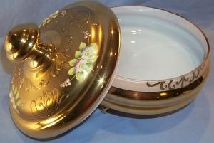 Gold Finished Covered Cased Glass Bowl with Applied Flowers