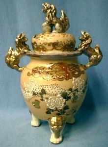 Satsuma Pottery Urn  with Kara Shi Shi - Antique Victorian Covered Jar