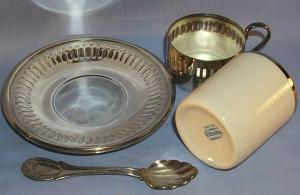 (4) Sets BRAZILIAN Porcelain Cups in Silverplated Holders with Saucers and Spoons