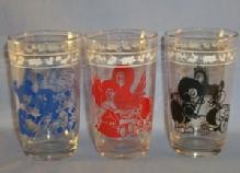 Three SWANKY SWIGS Kiddie Glasses