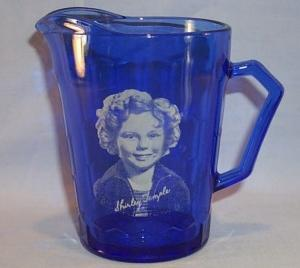 Original Cobalt Blue SHIRLEY TEMPLE Glass Pitcher