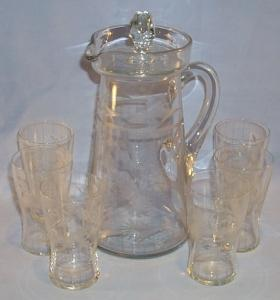 Eight Piece Cut Crystal Glass Pitcher and Glass Set