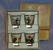 Four Whiskey Glass Rumpus Set in Box - Ethnographic