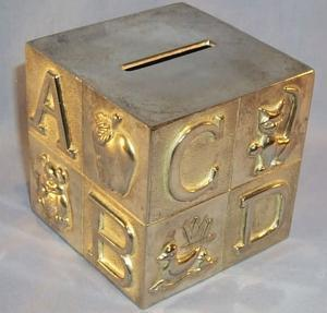 Chrome Plated Child Alphabet Block Bank - Metalware