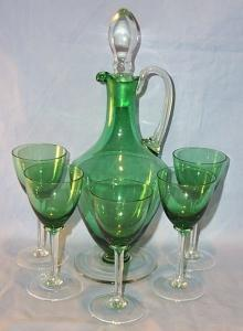 Green Glass Decanter and 5 Stem Wine Glass Set