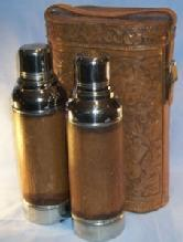 Unique Two Leather Covered Chrome Plated Cobalt Glass Lined FERROSTAT Vacuum Bottles in Flower Decorated Lined Leather Carrying Case