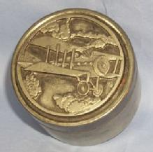 World War  I Airplane Decorated Pewter Lid Covered Tin Container Metalware