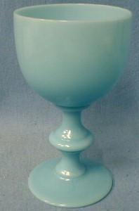 Portieux Vallerysthal France Opaque Blue Glass Footed Tumbler