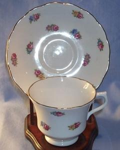 Porcelain, Vale China, Cup & Saucer, With Mini Roses Pattern.